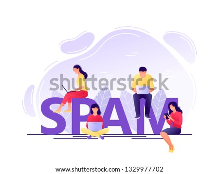 Spam - young men and women using laptop, tablets near letters SPAM. Receiving spam, unsolicited emails, inappropriate messages distribution system. Flat concept vector illustration