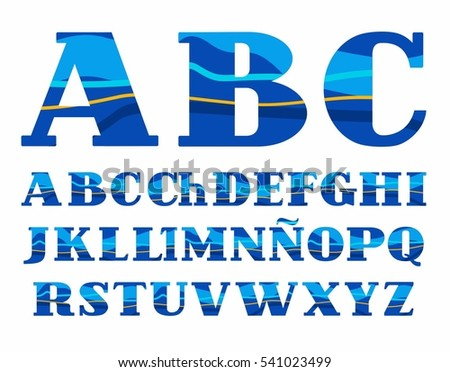 Spanish alphabet, Aqua, vector font, capital letters. Vector colorful letters with serifs. Blue and yellow wave on blue background. Sea waves simulation.   #541023499