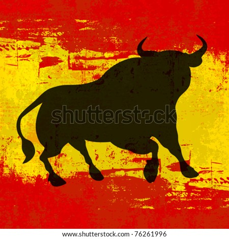 Spanish Background, Vector template with a Bull over a grunged Flag of Spain