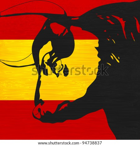 Spanish Bull, Black bovine head over the flag of Spain