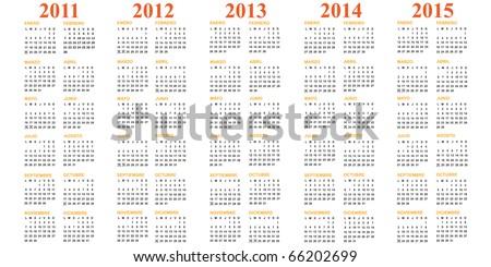 Spanish calendar 2011 2012 2013 2014 2015