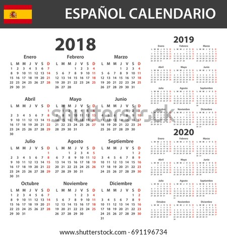 spanish calendar for 2018 2019 and 2020 scheduler agenda or diary template week starts on monday ez canvas