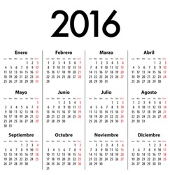 Spanish Calendar for 2016. Mondays first. Vector illustration