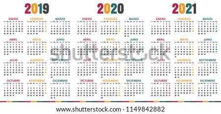 spanish calendar 2019   2021