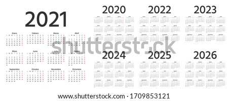 Spanish Calendar 2021, 2022, 2023, 2024, 2025, 2026, 2020 years. Vector. Week starts Monday. Spain calender template. Yearly stationery organizer in simple design. Simple illustration.