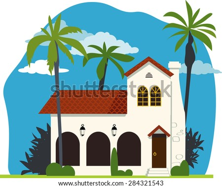 Spanish colonial or mission revival house vector illustration, no transparencies, EPS 8