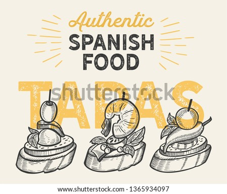 Spanish cuisine illustrations - tapas for restaurant. Vector hand drawn poster for catalan cafe and bar. Design with lettering and doodle vintage graphic. Foto stock ©