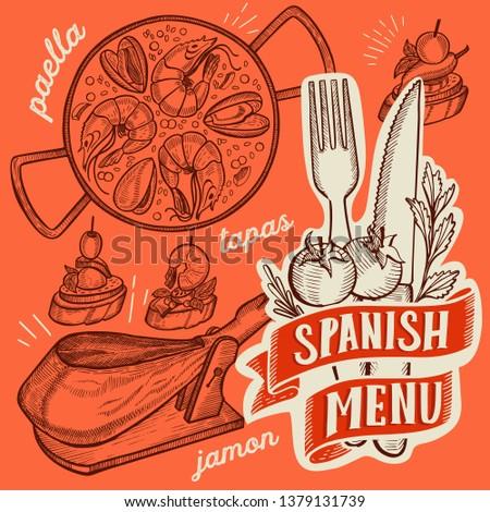Spanish cuisine illustrations - tapas, paella, sangria, jamon, churros, calcots, turron for restaurant. Vector hand drawn poster for catalan cafe and bar. Design with doodle vintage graphic.