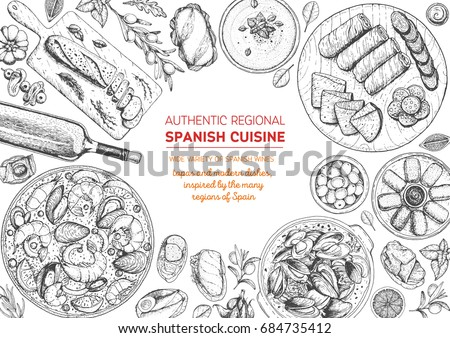 spanish cuisine top view frame