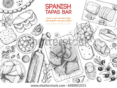 Spanish cuisine top view frame. A set of spanish dishes with hamon, tapas, bocadillo, mojama, sausages, snack . Food menu design template. Vintage hand drawn sketch vector illustration. Engraved image