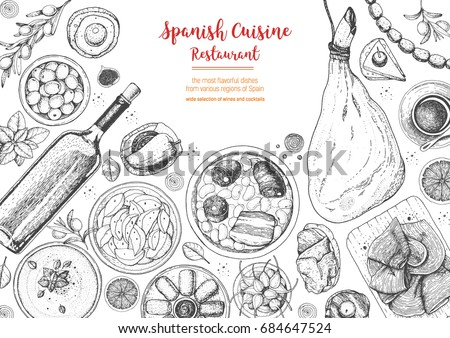 Spanish cuisine top view frame. A set of spanish dishes with jamon, patatas bravas, fabada, gaspacho, tapas. Food menu design template. Vintage hand drawn sketch vector illustration. Engraved image