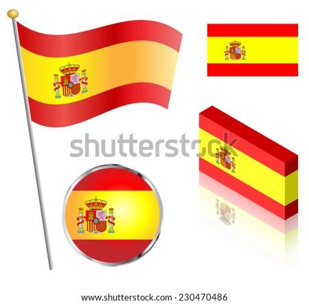spanish flag on a pole  badge