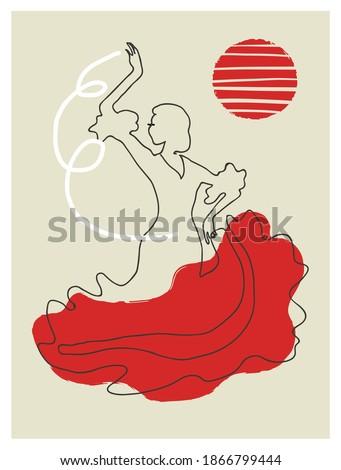 Spanish Flamenco dancer girl, vector illustration. Modern  line art poster. Foto stock ©