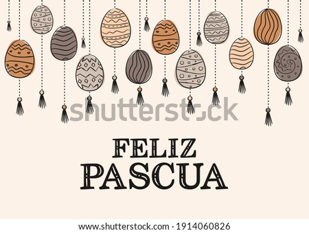 spanish happy easter card hand