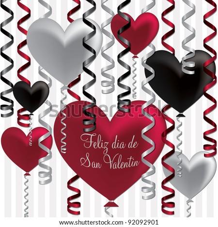 Spanish Happy Valentine S Day Balloon Card In Vector