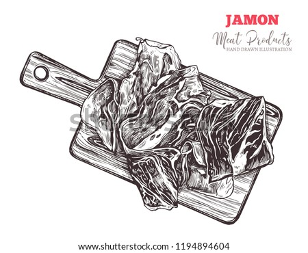 Spanish jamon, italian prosciutto crudo or parma ham on wooden cutting board top view in vector hand drawn style. Slices of dry cured meat sketch illustration. Farm natural product