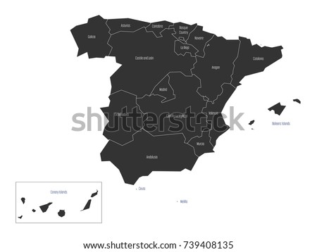 spanish map devided to 17