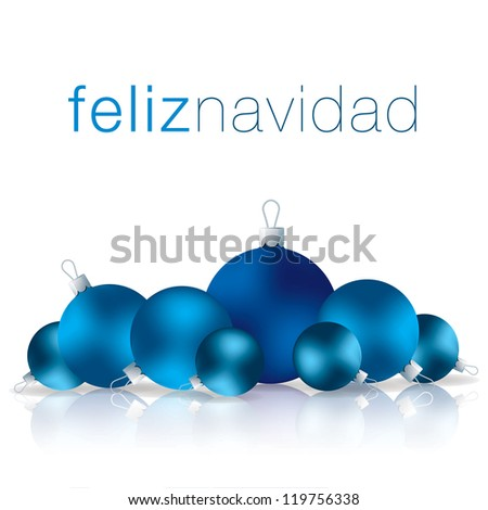 Spanish Merry Christmas bauble card in vector format. - stock vector
