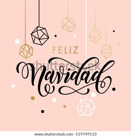 Shutterstock Spanish Merry Christmas Feliz Navidad greeting card with calligraphy lettering and gold glitter crystal ornaments on pink background