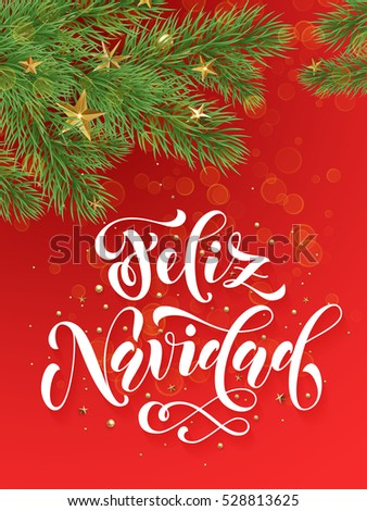spanish merry christmas feliz navidad text greeting calligraphy lettering decorative red background with golden christmas - Spanish Christmas Decorations