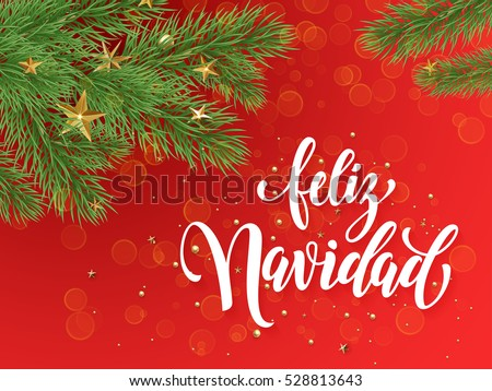 Shutterstock Spanish Merry Christmas Feliz Navidad text greeting calligraphy lettering. Decorative red background with golden Christmas ornament decorations of gold stars balls and Christmas tree branches