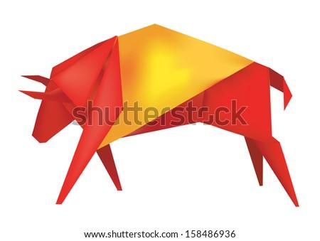 spanish origami bull  paper