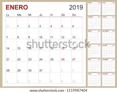 spanish planning calendar 2019