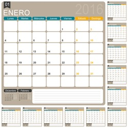 Spanish planning calendar 2016, week starts on Monday, vector illustration