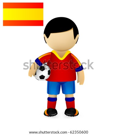 Spanish soccer player standing with a ball