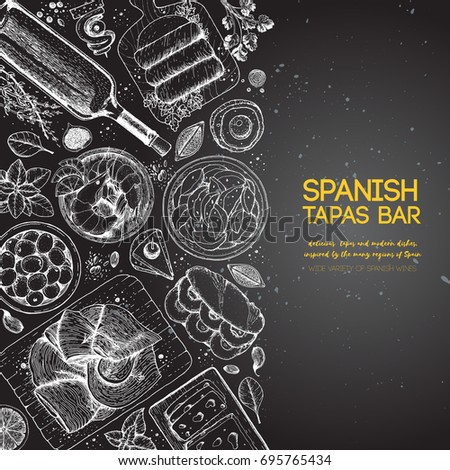 spanish tapas  top view a set