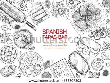 Shutterstock Spanish tapas, top view frame. A set of spanish dishes with bocadillo, jamon, patatas bravas, tapas. Food menu design template. Vintage hand drawn sketch vector illustration. Engraved image.