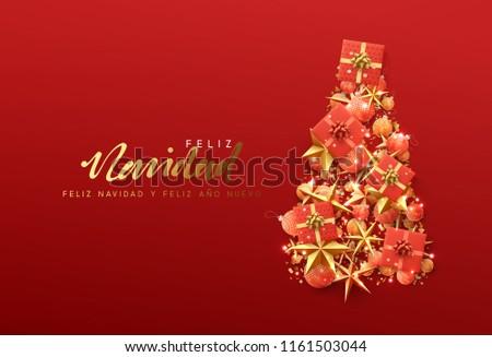 Spanish christmas greetings download free vector art stock spanish text feliz navidad translation merry christmas christmas greeting card creative composition in m4hsunfo