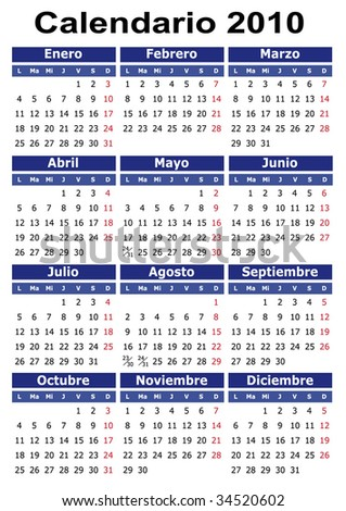 Spanish 2010 vector calendar. Easy to edit and apply