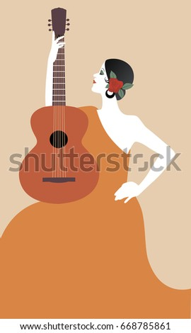 spanish woman with guitar