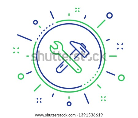 Spanner and hammer line icon. Repair service sign. Fix instruments symbol. Quality design elements. Technology spanner tool button. Editable stroke. Vector