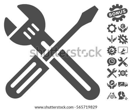 Spanner and Screwdriver icon with bonus tools design elements. Vector illustration style is flat iconic gray symbols on white background.