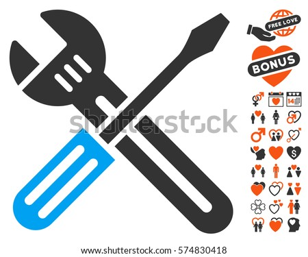 Spanner And Screwdriver icon with bonus valentine images. Vector illustration style is flat iconic elements for web design, app user interfaces.