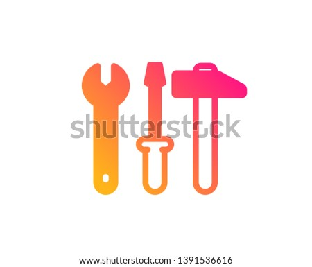 Spanner, hammer and screwdriver icon. Repair service sign. Fix instruments symbol. Classic flat style. Gradient spanner tool icon. Vector