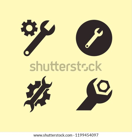 spanner icon. spanner vector icons set wrench and wrench gear