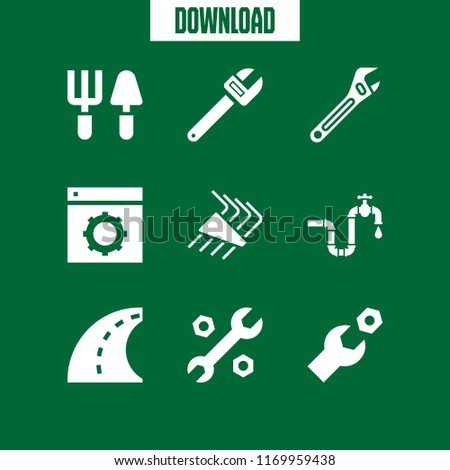 spanner icon. 9 spanner vector set. plumbing, adjustable spanner, wrench and tools icons for web and design about spanner theme