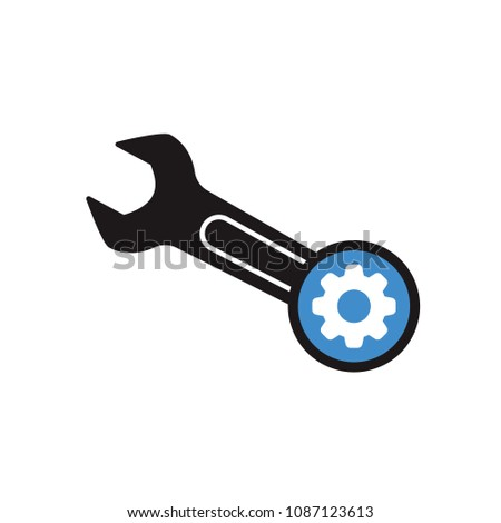 Spanner icon with settings sign. Spanner icon and customize, setup, manage, process symbol. Vector illustration