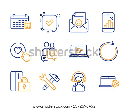 Spanner tool, Calendar and Dating chat icons simple set. Like button, Blocked card and Smile signs. Synchronize, Graph phone and Internet downloading symbols. Line spanner tool icon. Colorful set