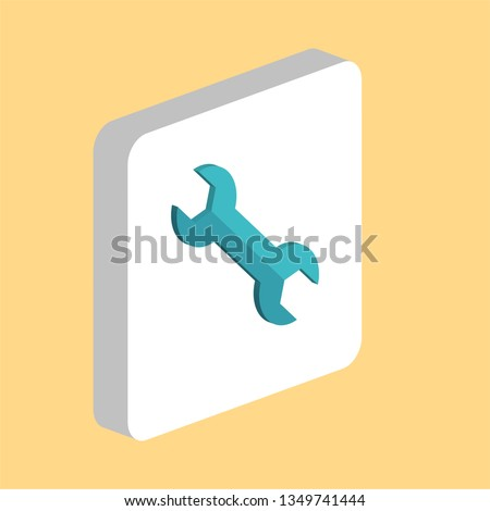 Spanner, Wrench Simple vector icon. Illustration symbol design template for web mobile UI element. Perfect color isometric pictogram on 3d white square. Spanner, Wrench icons for you business project