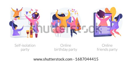 Spare time ideas for self-isolation in Covid-2019 quarantine icons set. Self-isolation party, online birthday party, online friends party metaphors. Vector isolated concept metaphor illustrations
