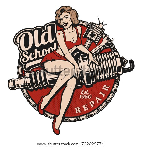 spark plug pin up girl...