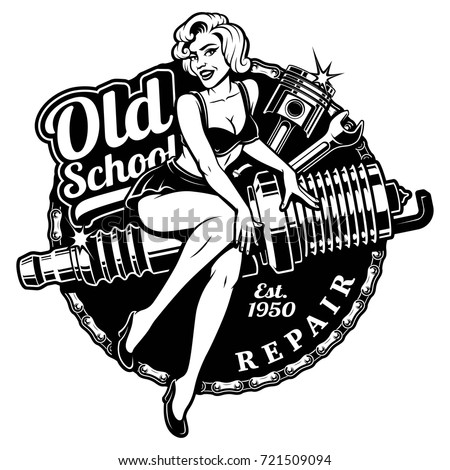 Spark Plug Pin Up Girl illustration with piston and wrench. Vintage style. (monochrome version) All elements, text are on the separate layer.
