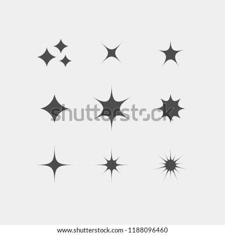 Sparkle flat vector icons. Shine flat vector icons. Glow flat vector icons
