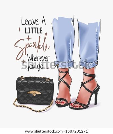 sparkle slogan with girl legs