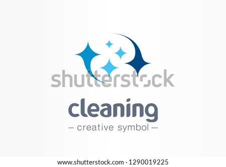 Sparkle star, fresh smile creative symbol concept. Wash, glare, laundry, cleaning company abstract business logo. Housekeeping, shine, cleaner icon. Corporate identity logotype, company graphic design