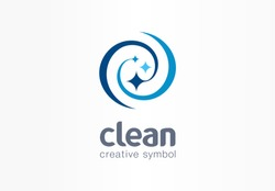 Sparkle star, fresh smile creative symbol concept. Wash, swirl, laundry, cleaning company abstract business logo. Housekeeping, shine, cleaner icon. Corporate identity logotype, company graphic design